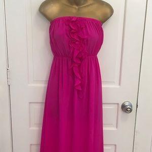 Amanda Uprichard Pink Maxi Dress RuffleFront Dress